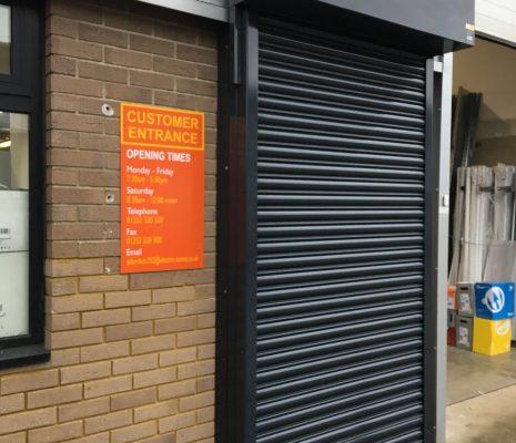 Security shutters over pedestrian entrances
