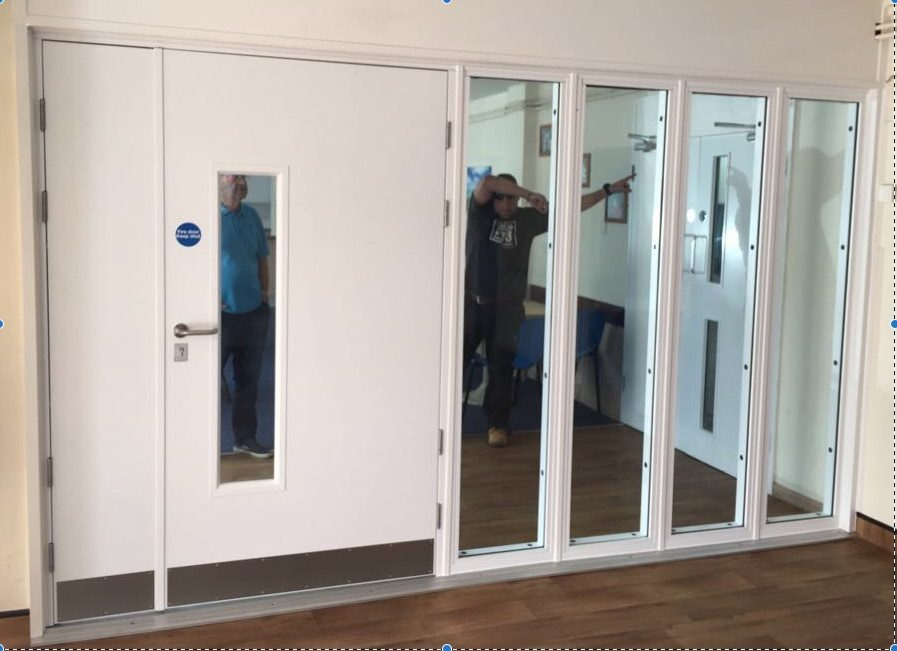 Fire rated doors and fire rated side screens